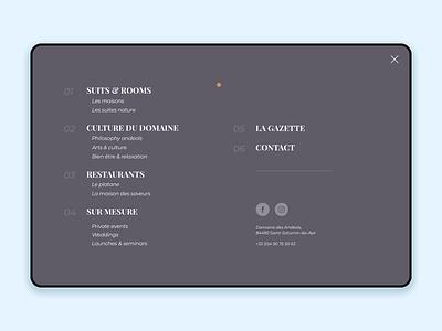 Andeols Menu [fullscreen] fullscreen burger menu typography interface minimalist ux ui design
