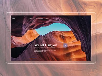Homepage Canyon paysage canyon typography challenge interface minimalist homepage ux ui design