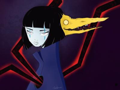 Neko and her demon illustration art power dark demon woman krita illustration animeart anime