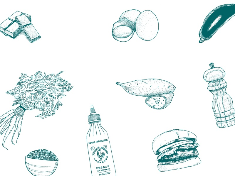 Hotty Veggies -Illustrations 2 eggplant sweet potato pepper burger riz spicy sauce carrot eggs chocolate illustration green food illustration fabercastell drawing dotwork