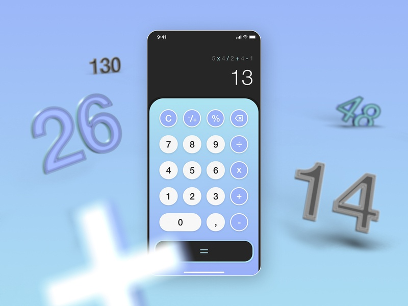 UI Challenge - Calculator dimension photoshop xd ux ui contrast gradient interface calculator dailychallenge dailyui004 dailyui