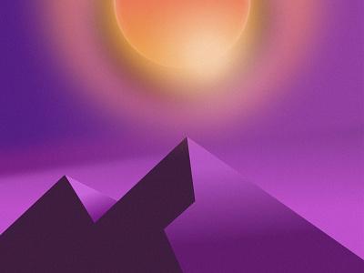 Monk's path minimalist minimal icon vector sun calm chill noise mountains glow blur gradient design figma vector art illustration
