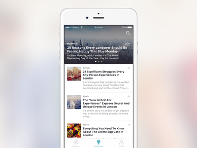 News feed concept vol. 4 ux ui post news mobile feed app