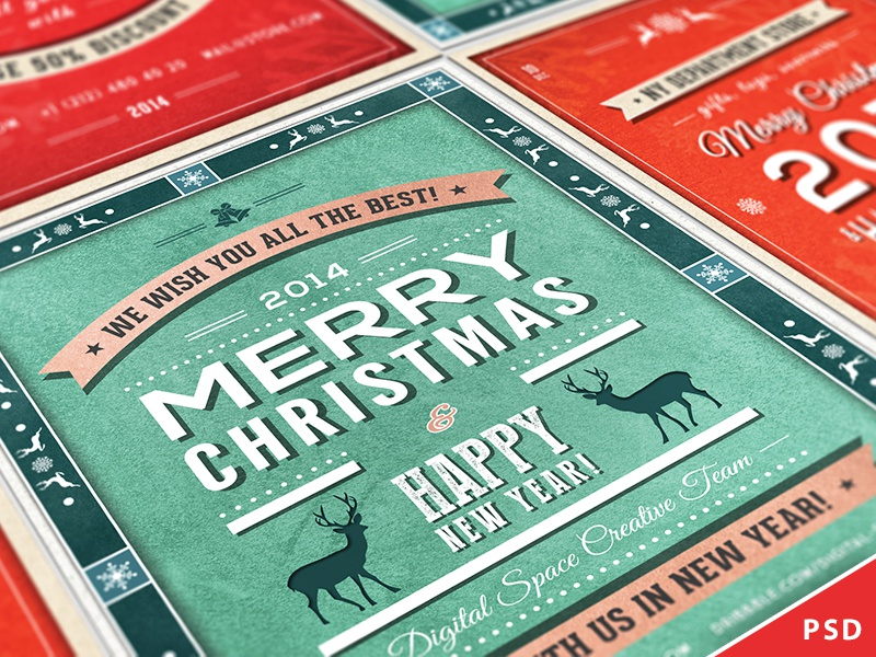 Retro christmas and new year flyers collection by digital space