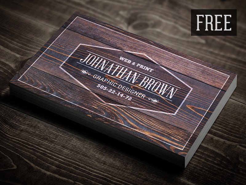 free retro wooden business card by digital space dribbble