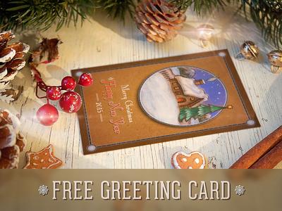 Free Hand-Drawn Retro Christmas Postcard