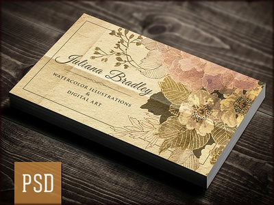 retro artist business card psd template