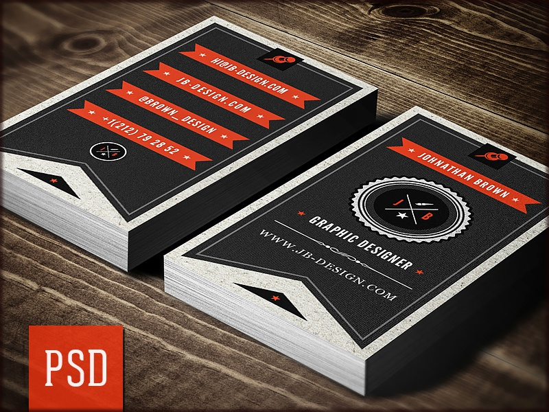 Retro designer business card psd template by digital space dribbble reheart Image collections