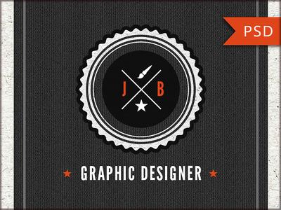 Retro Designer Business Card PSD Template Vol.11