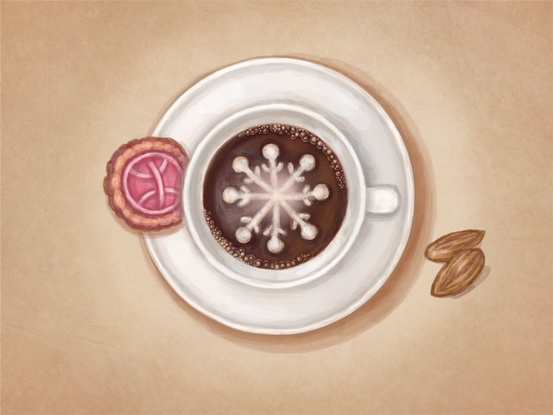 Christmas Coffee new year painting icon hand drawn christmas drawing digital painting art handmade winter illustration photoshop