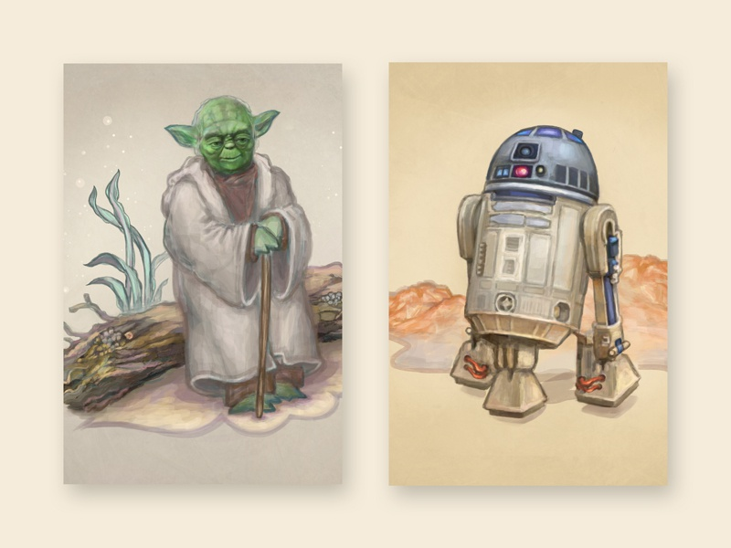 Yoda And R2D2 yoda star wars photoshop painting illustration icon hand drawn r2d2 drawing digital painting design art