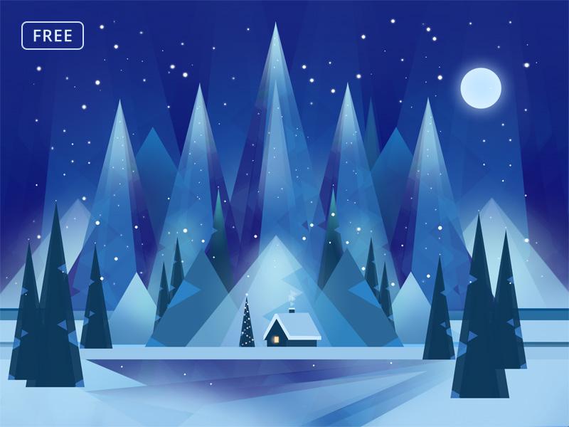 Free Polygonal Winter JPEG Background winter new year christmas print low poly photoshop background template free psd psd freebie free