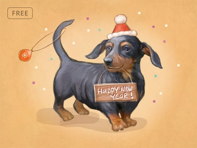 Free New Year Postcard dog new year christmas print handmade photoshop postcard template free psd psd freebie free