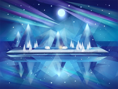 Free Polygonal Northern Lights Background