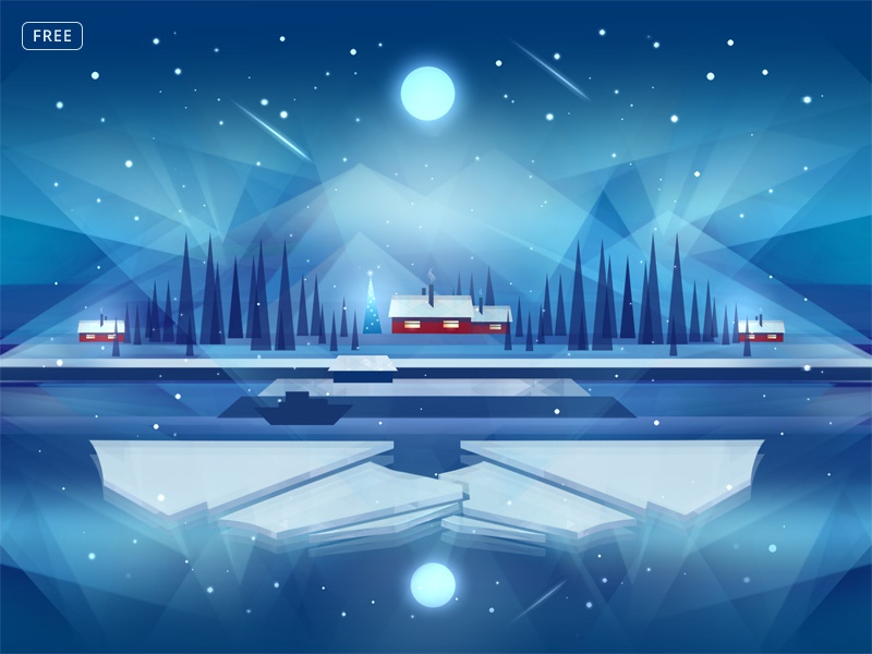 Free Northern Night Background icy new year christmas print low poly photoshop background template free psd psd freebie free