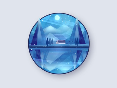 Winter Lake winter new year christmas light low poly photoshop background blue print design drawing art