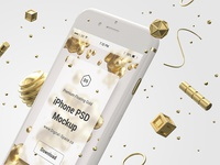 Floating Gold iPhone Psd Mock-Up - Close-Up