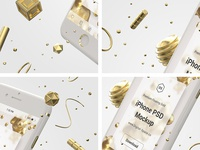 Floating Gold iPhone Psd Mock-Up - Fragment