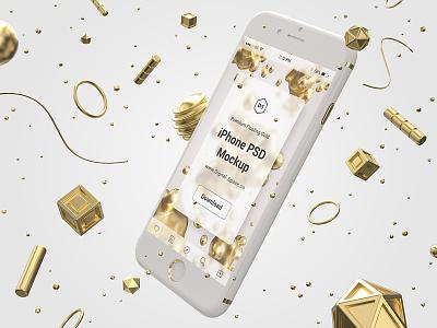 Floating Gold iPhone Psd Mock-Up plastic white photoshop mobile ui app iphone 3d psd mockup mock-up gold