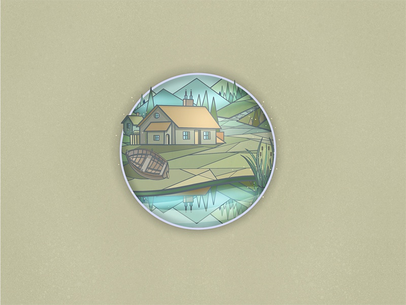 House by a Lake - Fragment. Day Version day blue yellow hand drawn painting digital painting art illustration green photoshop psd