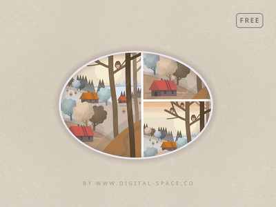 Free - The Owls at the Forest Edge - Fragments orange hand drawn painting digital painting art illustration template free psd freebie free photoshop psd