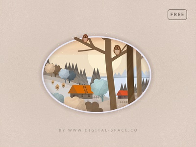 Free - The Owls at the Forest Edge - Fragment orange hand drawn painting digital painting art illustration template free psd freebie free photoshop psd