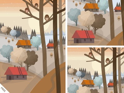 Free - The Owls at the Forest Edge - Overview orange hand drawn painting digital painting art illustration template free psd freebie free photoshop psd