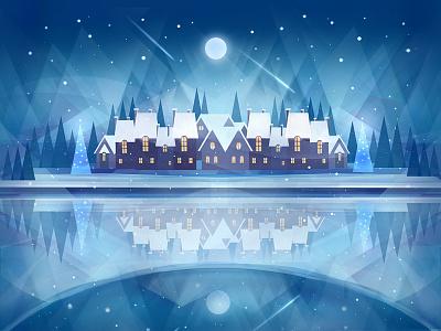 New Year Night flat winter christmas hand drawn painting digital painting art illustration blue photoshop new year