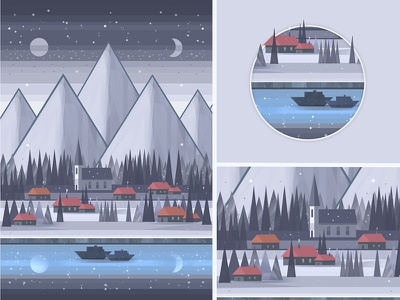 A Small Village by the Lake Under the Mountains flat mountains lake hand drawn painting digital painting art illustration gray photoshop blue