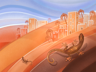 The Golden Lizard flat lizard desert hand drawn painting digital painting art illustration yellow photoshop orange