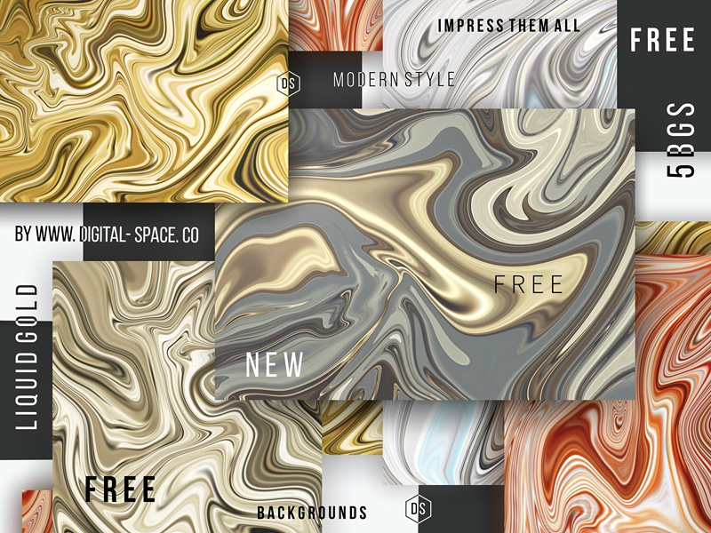 5 Free Liquid Gold Backgrounds by Digital Space on Dribbble