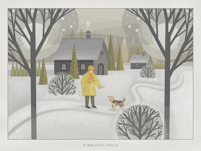 Friends on a Walk stylus winter walk dog boy friends yellow white gray flat illustration hand drawn painting digital painting art procreate