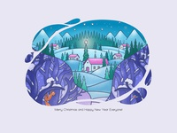 Follow Your Dream. A Fragment forest procreate art hand drawn flat white teal navy green orange pink violet purple blue line art holiday illustration