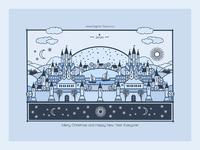 2020 city castle procreate art hand drawn flat blue line art holiday illustration