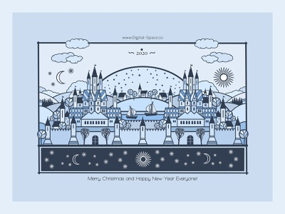 2020 city castle procreate art hand drawn flat blue line art holiday illustration