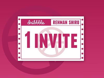 Dribbble Invite illustrator typogaphy giveaway ticket dribbble dribbleinvite invite typography artwork simple flat illustration flatdesign vector design