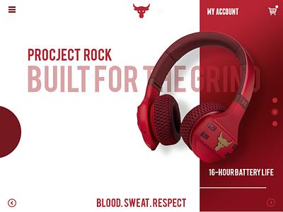 project rock ui design therock logos logo wireless headphone project uiux website concept website design rock icon ui ux artwork simple flat illustration flatdesign vector design