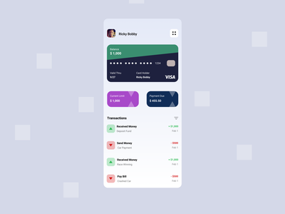 Credit Card App user interface credit cards mobile finance minimal visa credit card app ux design
