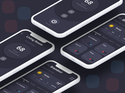 House Climate intuitive dark mobile ios app design app ui figma design ux