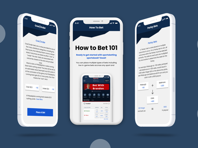 Sports Betting Learning Feature blue ux ios mobile minimal app design app ui figma design