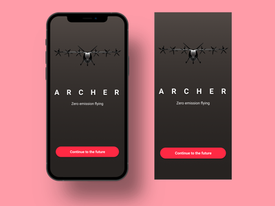 Archer Air Taxi (Uber of the air) mobile ui mobile ui dark branding minimal app design app figma design ux