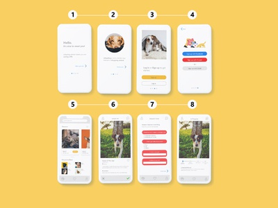wireframe experience design (House Pet Adoption)