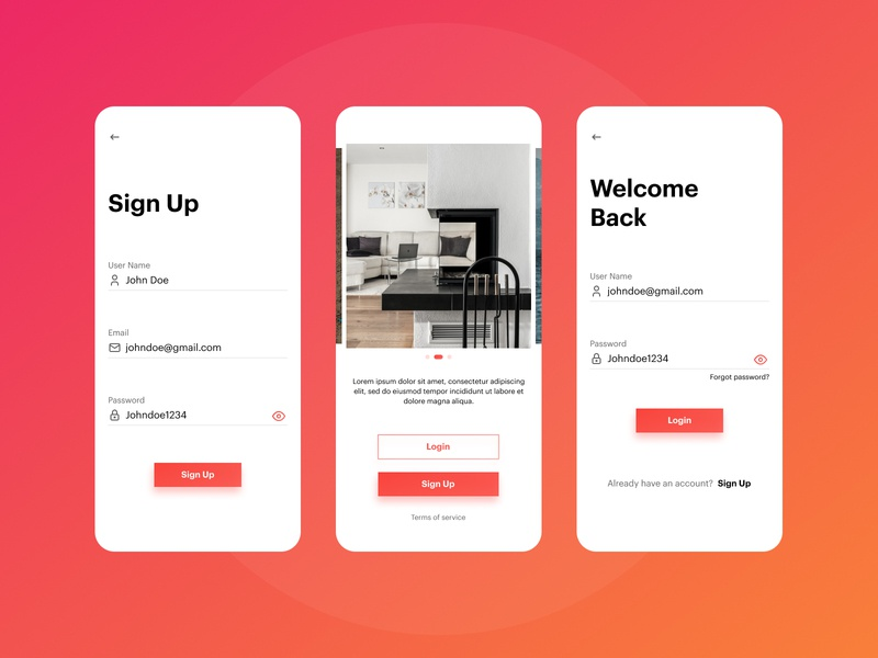 Login and  signup flow flow signup login interiordesign uiux app design mobileappdesign product design products typography ux ui branding creator app creative  design design 2020 dribbble hello dribble