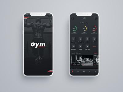 Splash and Home fitness app healthy black neomorphism app design ux design gym product gym app gym uxui ux logo ui creator creative  design app 2020 dribbble design hello dribble