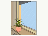 Lonely plant staring out the window 🌿