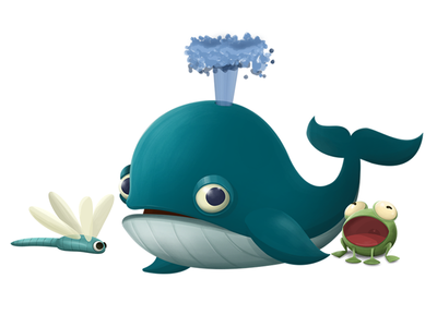 Whale, frog and dragonfly animal character designs illustration ios app frog dragonfly whale