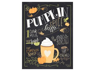 Pumpkin Spice Latte typography procreate illustration handlettering design