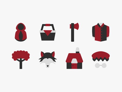 Red Riding Hood Themed Icons story halloween tree grandma shirt ax wolf cottage red riding hood cloak