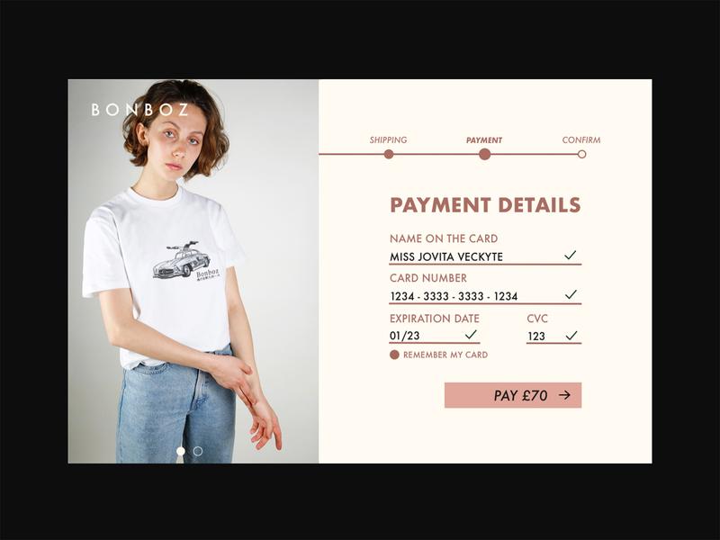 DAILY UI 002 ui uiux uidesign nōirdiva design dailyuichallenge clothing brand bonboz dailyui