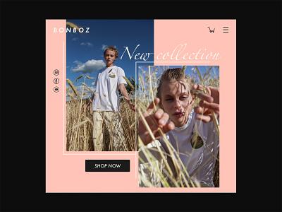 DailyUI 003 landingpage daily003 ecommerce clothing brand bonboz uiux uidesign nōirdiva design dailyuichallenge dailyui